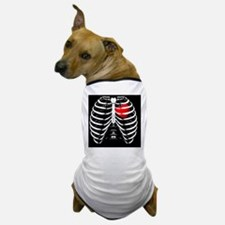 Rib Cage with valentine heart black ba Dog T-Shirt