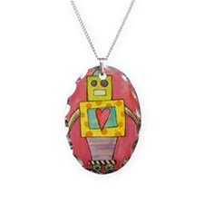Love Robot Necklace Oval Charm