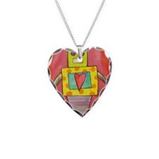 Love Robot Necklace Heart Charm