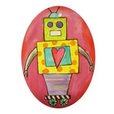 Love Robot Oval Ornament
