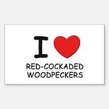 I love red-cockaded woodpeckers Sticker (Rectangul