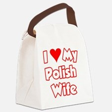 I Love My Polish Wife Bear Canvas Lunch Bag
