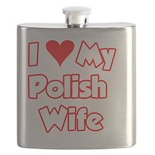 I Love My Polish Wife Bear Flask