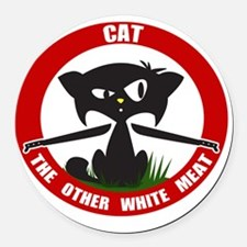 cattheotherwhitemeat.gif Round Car Magnet