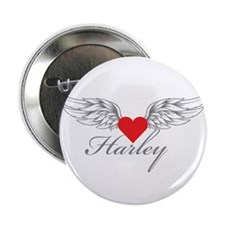 "Angel Wings Harley 2.25"" Button"