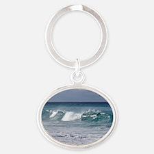 Waves on Friendly Beach Oval Keychain