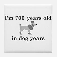 100 birthday dog years poodle 2 Tile Coaster