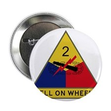 """2nd Armored Division - Hell On Wheels 2.25"""" Button"""