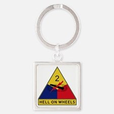 2nd Armored Division - Hell On Whe Square Keychain