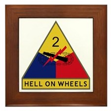 2nd Armored Division - Hell On Wheels Framed Tile