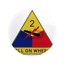 "2nd Armored Division - Hell On Wheels 3.5"" Button"