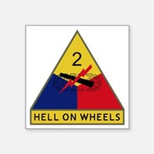 "2nd Armored Division - Hell Square Sticker 3"" x 3"""