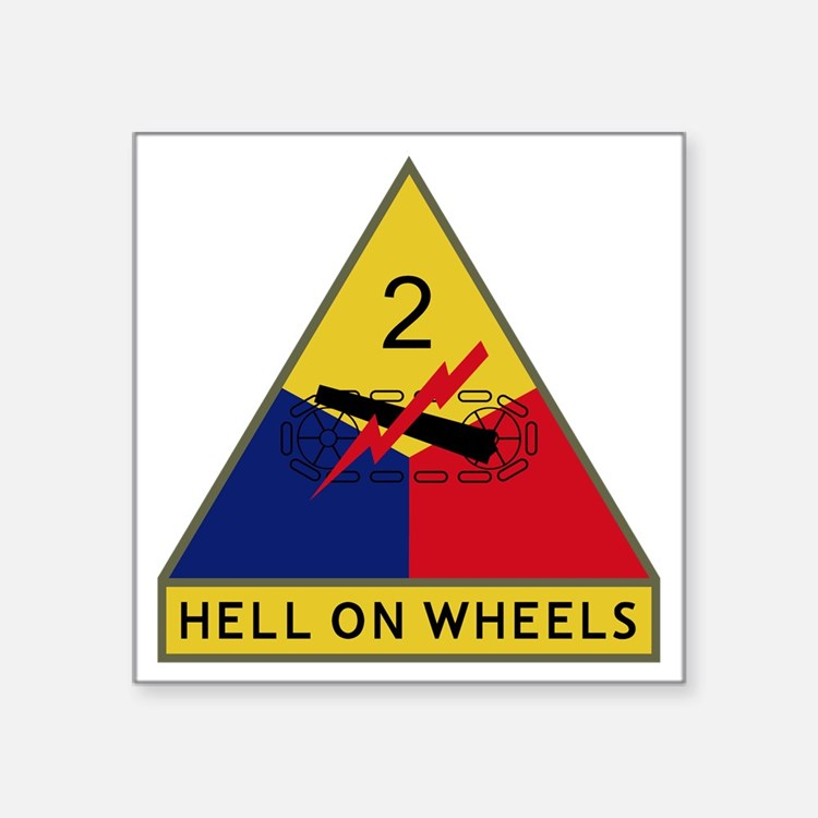 """2nd Armored Division - Hell Square Sticker 3"""" x 3"""""""