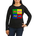 Pop Art Rabbit Women's Long Sleeve Dark T-Shirt