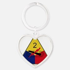 2nd Armored Division Heart Keychain