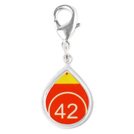 L42 vertical logo Silver Teardrop Charm
