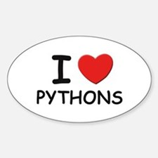 I love pythons Oval Decal