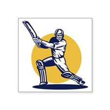 "cricket sports player batsm Square Sticker 3"" x 3"""