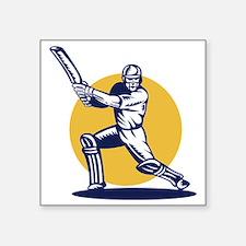 "cricket sports player batsm Square Sticker 3"" x 3"""