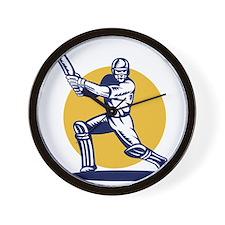 cricket sports player batsman batting Wall Clock