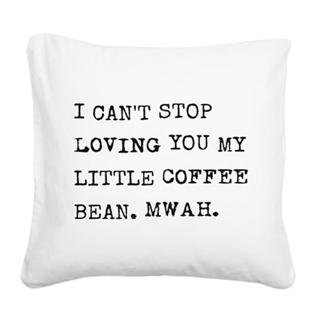 Love letter to coffee bean Square Canvas Pillow