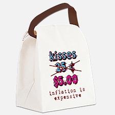 kisses_25_cents_blue_pink Canvas Lunch Bag