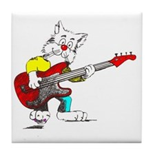 Bass Guitar Cat for Dark Apparel Tile Coaster