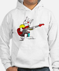 Bass Guitar Cat for Dark Apparel Hoodie