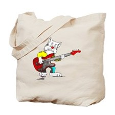 Bass Guitar Cat for Dark Apparel Tote Bag