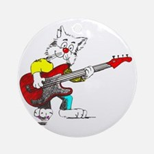 Bass Guitar Cat for Dark Apparel Round Ornament