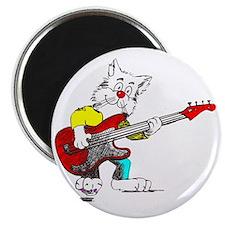 Bass Guitar Cat for Dark Apparel Magnet