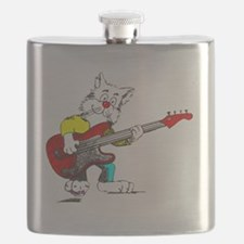 Bass Guitar Cat for Dark Apparel Flask