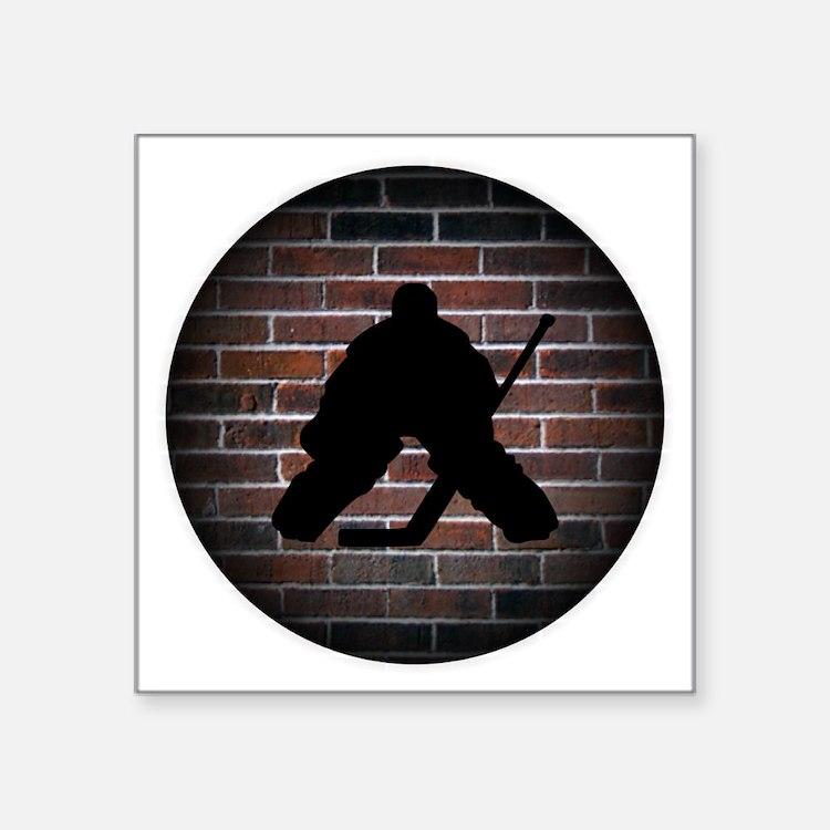 "Hockey Goalie Square Sticker 3"" x 3"""