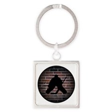Hockey Goalie Square Keychain