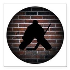 "Hockey Goalie Square Car Magnet 3"" x 3"""