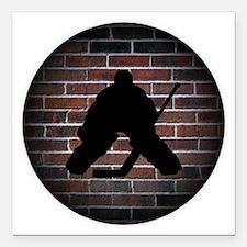 "Hockey Goalie Square Car Magnet 3"" x 3"""