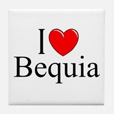 """""""I Love Bequia"""" Tile Coaster"""