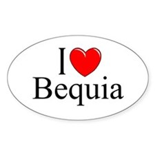 """I Love Bequia"" Oval Decal"
