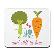 40 Year Anniversary Veggie Couple Mousepad