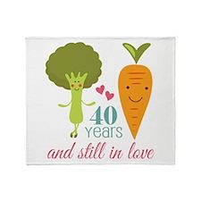 40 Year Anniversary Veggie Couple Throw Blanket