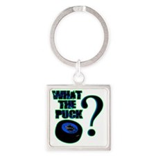 what_the_puck_green Square Keychain