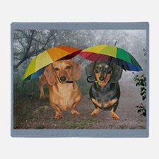 rain umbrella dogs16x16 copy Throw Blanket