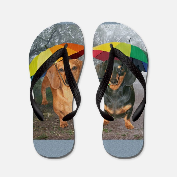 rain umbrella dogs16x16 copy Flip Flops