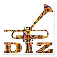 """Dizzy Trumpet Kente.gif Square Car Magnet 3"""" x 3"""""""
