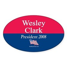 """""""Wesley Clark for President"""" Oval Decal"""