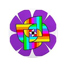 """LotusRainbow-Purple 3.5"""" Button"""