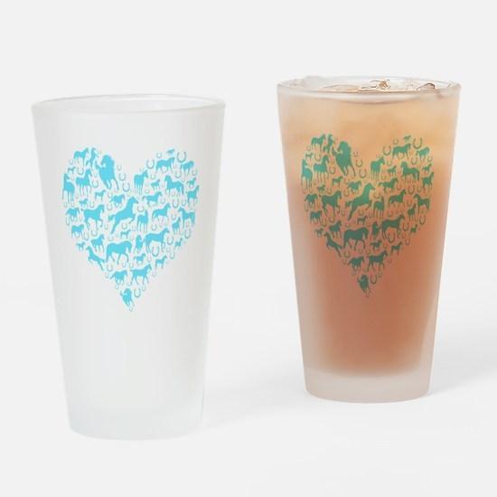 horse heart light blue Drinking Glass