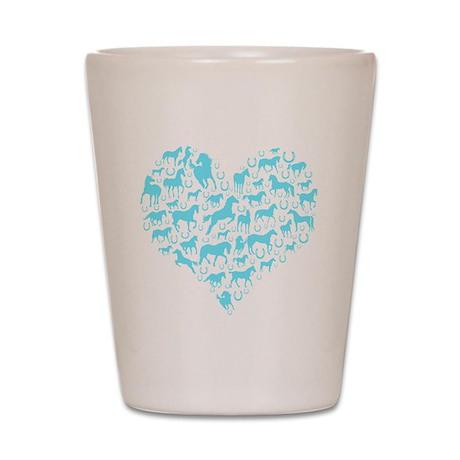 horse heart light blue Shot Glass