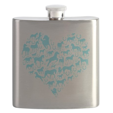 horse heart light blue Flask