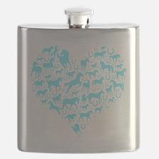 horse heart light blue Flask